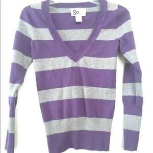 Purple and Gray V Neck Sweater